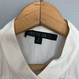 Lafayette 148 New York Tops - LAFAYETTE 148 | white blouse beaded sleeveless 8